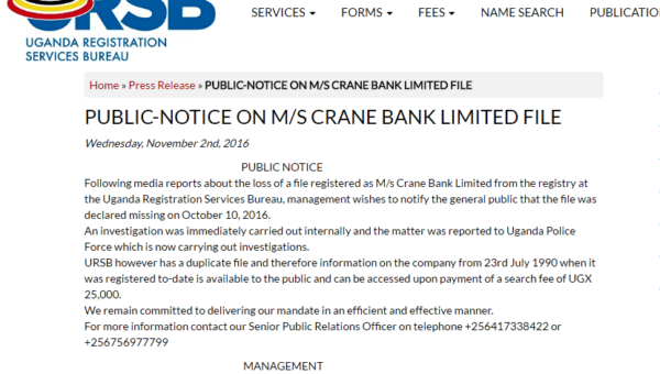 WHAT IT MEANS FOR THE CRANE BANK FILE DISAPPEARANCE